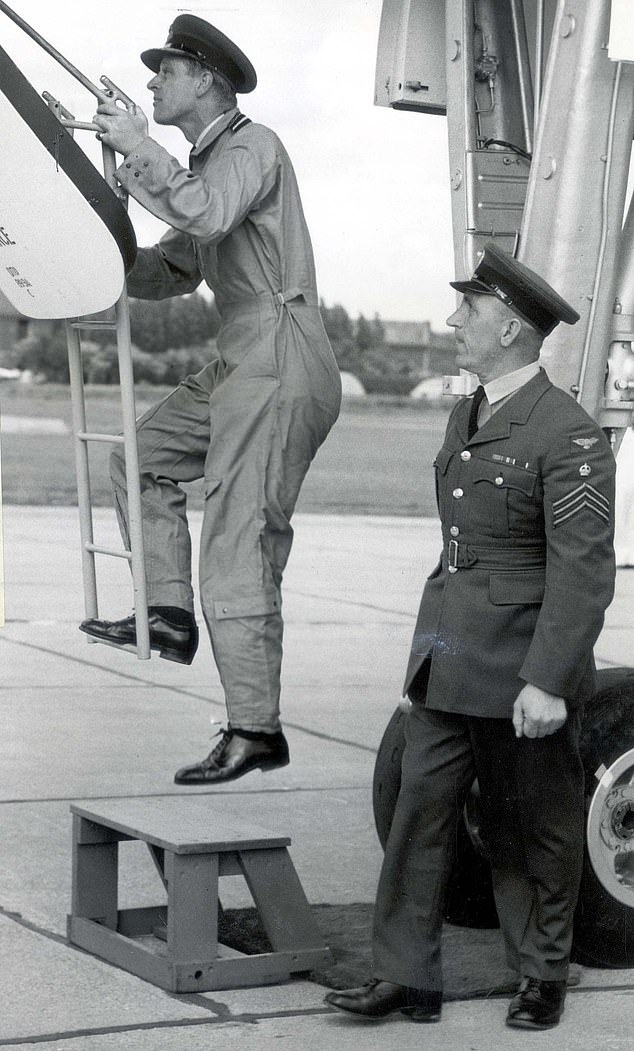 Philip embraced his new skill as a pilot and flew for 45 years, amassing 5,986 hours in 59 different aircraft. Pictured: Philip on the day in June 1958 that he flew a Vulcan H-bomber