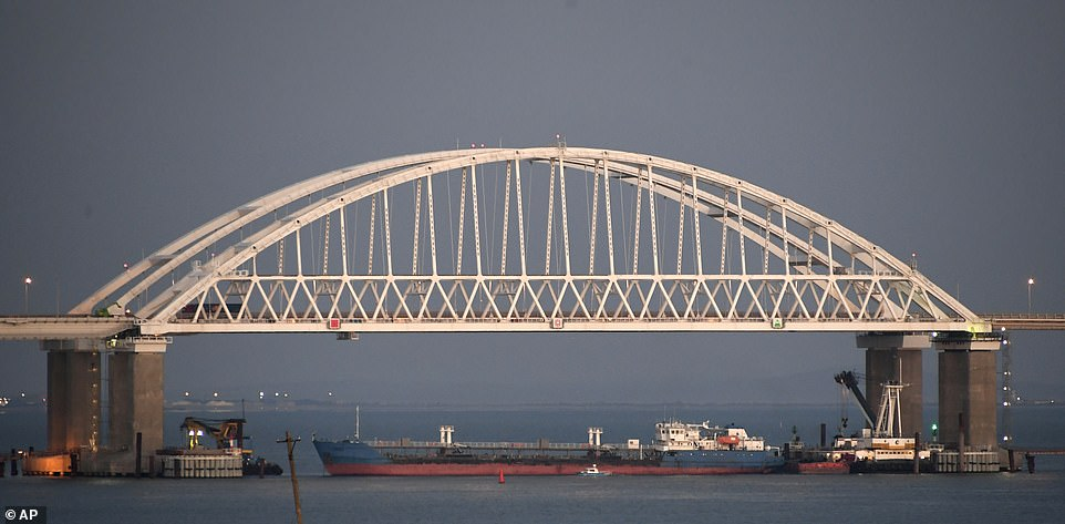 The Kerch Strait (pictured in 2018) is a crucial access for the Ukrainian ports of Mairupol and Berdyansk. Commercial ships will still be allowed to pass through, but the blockade leave the region vulnerable in the face of Russian aggression