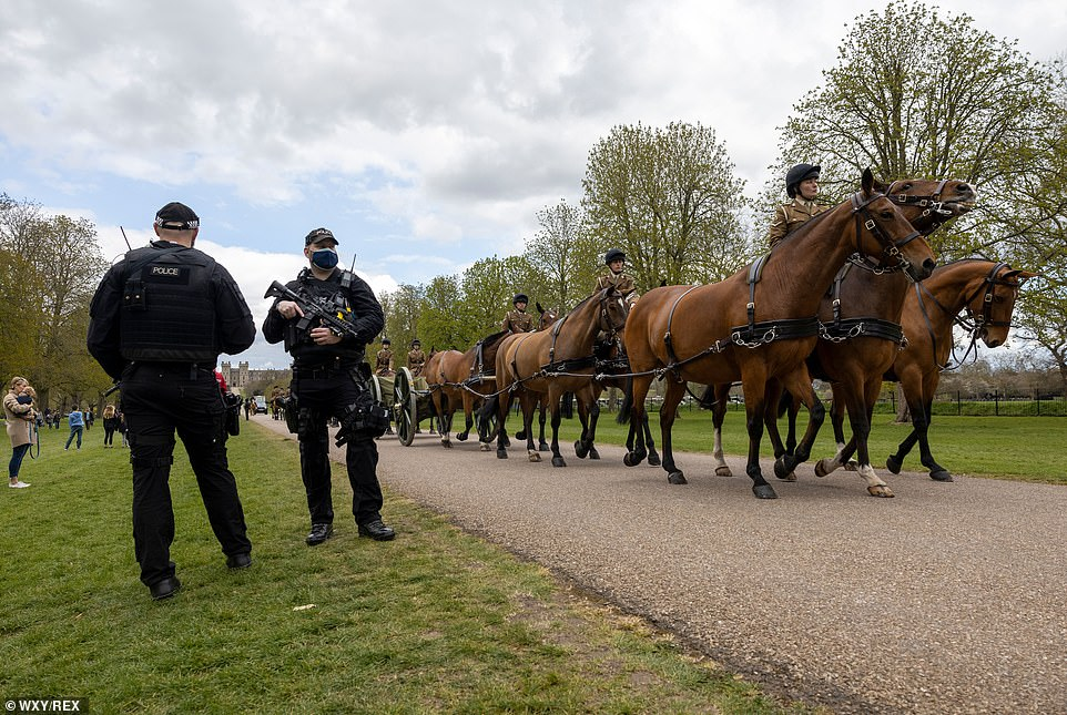 Polcie stood by as guardsmen and cavalry on Thursday went through their paces as they rehearsed for Prince Philip's funeral on Saturday