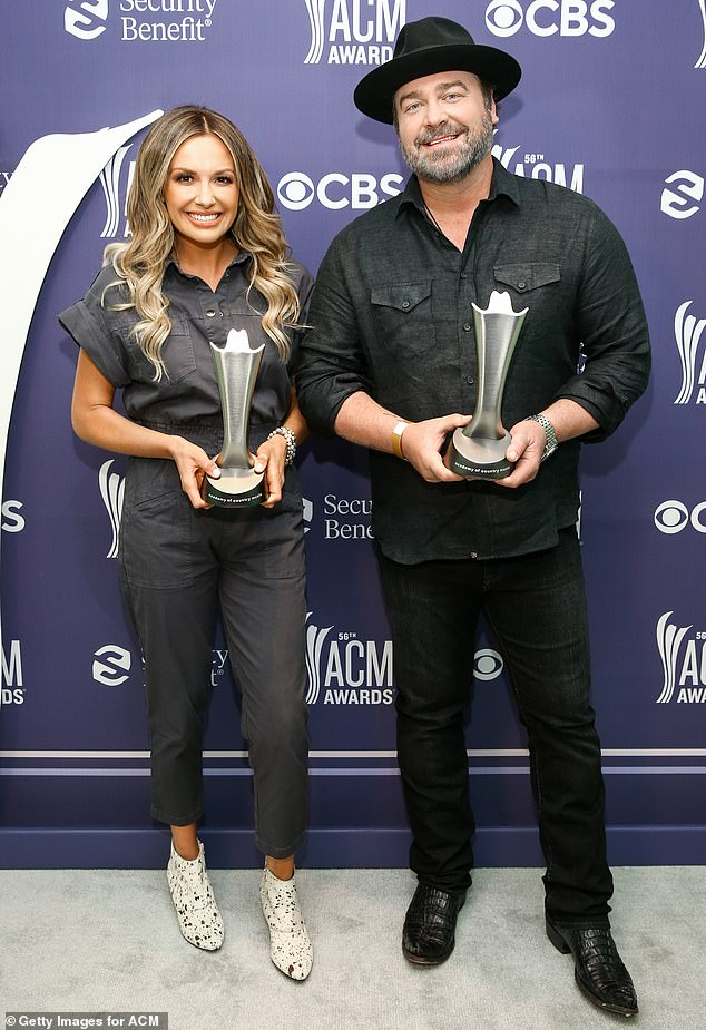 Bringing them home: Carly Pearce and Lee Brice were given the ACM Music Event of the Year Award on Thursday evening