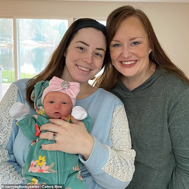 Kelsey (right) was devastatedafter being told another baby could be fatal and so her sister-in-law Hilde (left) stepped in the help. Hilde is pictured holding her niece.
