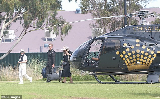 Touching down: The 52-year-old pop star made quite the entrance when she disembarked the aircraft with a small entourage