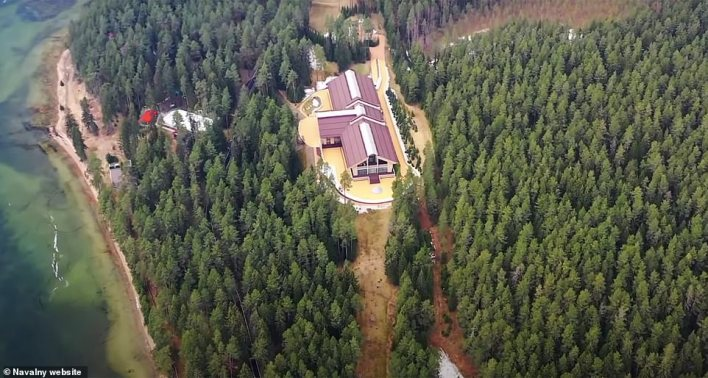 Drone footage showing a massive spa building in the land affiliated with Yuri Kovalchuk
