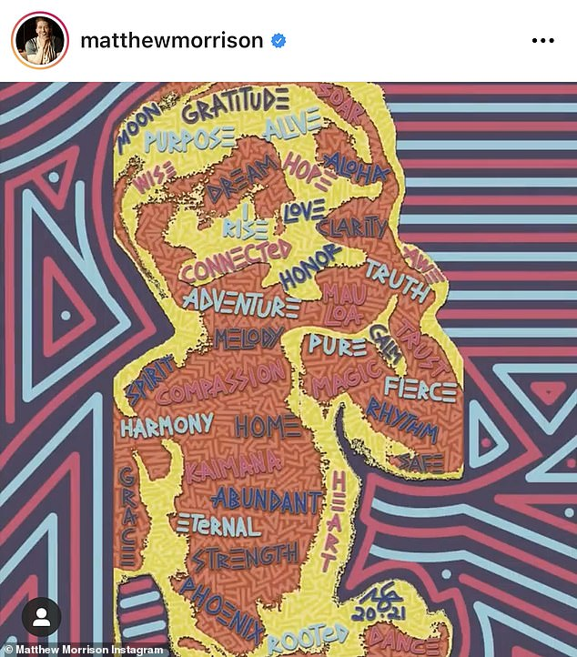 Colorful: Matthew took to Instagram with an ultrasound shot of their unborn child, super imposed with words of affirmations