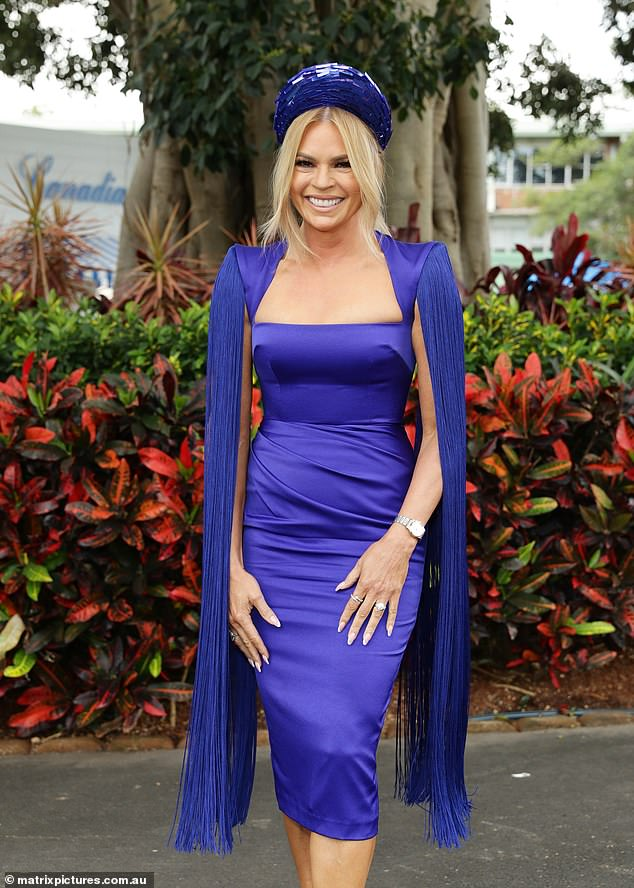 Babe in blue! Sonia Kruger wowed in a stunning electric blue dress at the Queen Elizabeth Stakes Day in Sydney on Saturday