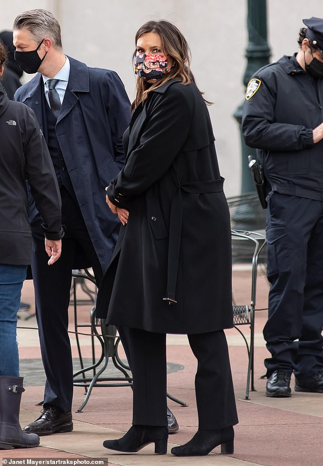 Take No Risks: Hargitay and Scanavino were seen wearing face covers for protection while interacting with other cast and crew members.