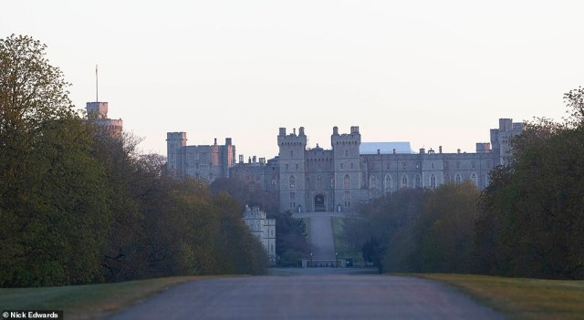 Pictured: Windsor Castle at dawn this morning The funeral of Duke of Edinburgh, Prince Philip's and husband of Queen Elizabeth II is due to take place today at 3pm