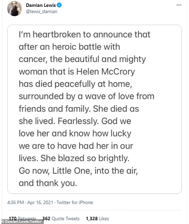 Tragic: In his statement, Damian said: 'I'm heartbroken to announce that after a heroic battle with cancer, the beautiful and mighty woman that is Helen McCrory has died at home'