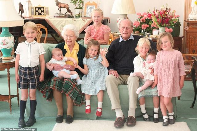 It comes just days after Prince William and Kate Middleton released their own touching photo of the Duke of Edinburgh and the Queen with seven of their great-grandchildren - Prince George, Prince Louis, Savannah Phillips, Princess Charlotte, Isla Phillips holding Lena Tindall, and Mia Tindall