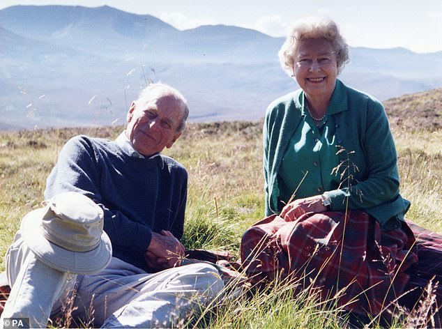 Wonderful marriage: On Friday night, the Palace shared a touching unseen picture of the Queen with her husband, who died peacefully at the castle on Friday last week at 99