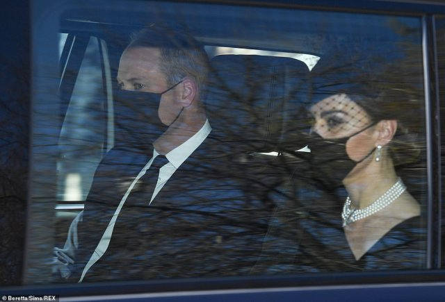 The Duchess of Cambridge travelled with husband Prince William in the back of a car