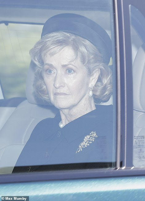 Lady Penny Brabourne, the duke's close friend and confidante, was also seen arriving