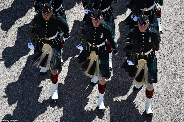 The Highlanders, 4th Battalion, The Royal Regiment of Scotland are seen marching ahead of the funeral of Prince Philip
