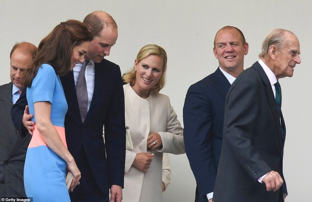 Zara and Mike are pictured with the Duke of Edinburgh in 2016 at the Queen's birthday celebrations with Prince Edward, Prince William and Kate Middleton