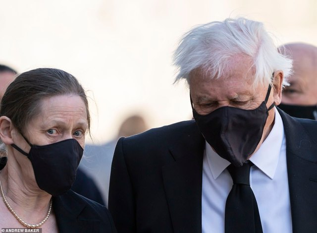 Sir David Attenborough seen walking with his daughter Susan Attenborough in Windsor just before the funeral of Prince Philip