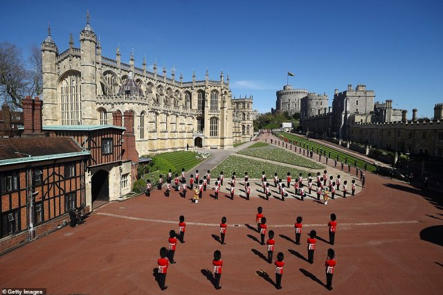 The Foot Guards Band are seen in formation ahead of the funeral of Prince Philip. The late Duke planned his entire funeral before his death