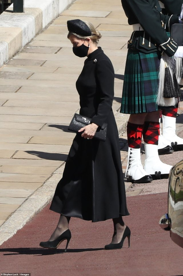 Sophie Wessex was also dressed in all black with a mask as the Royal Family mourns Philip's passing