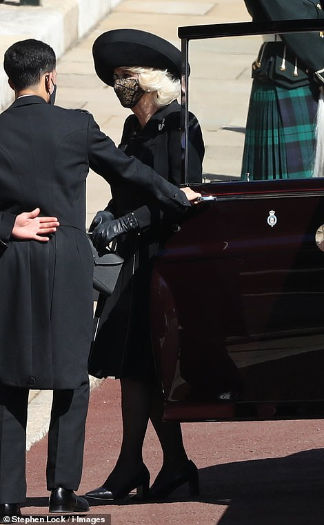 Camilla, the Duchess of Cornwall arrived at the ceremony without her husband, who was part of the main procession
