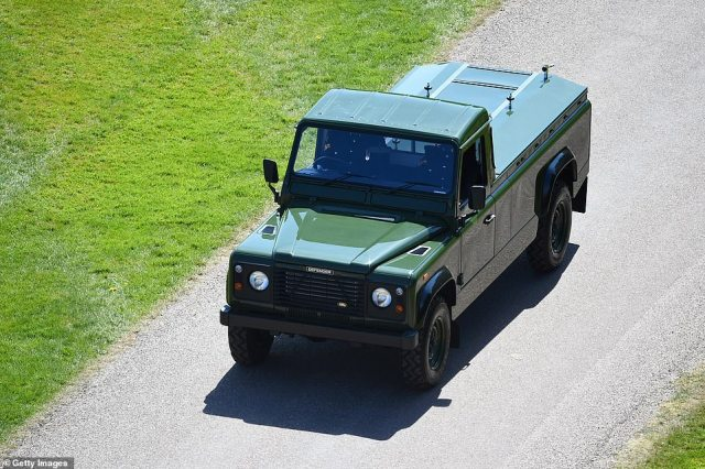 The purpose built Land Rover designed by Prince Philip that will carry the Duke of Edinburgh's coffin into Windsor Castle