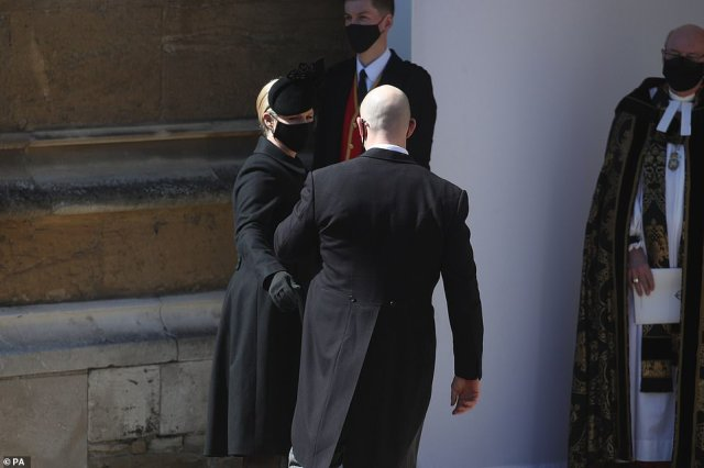 Zara Tindall and Mike Tindall arrive at the Galilee Porch of St George's Chapel, Windsor Castle ahead of the funeral service