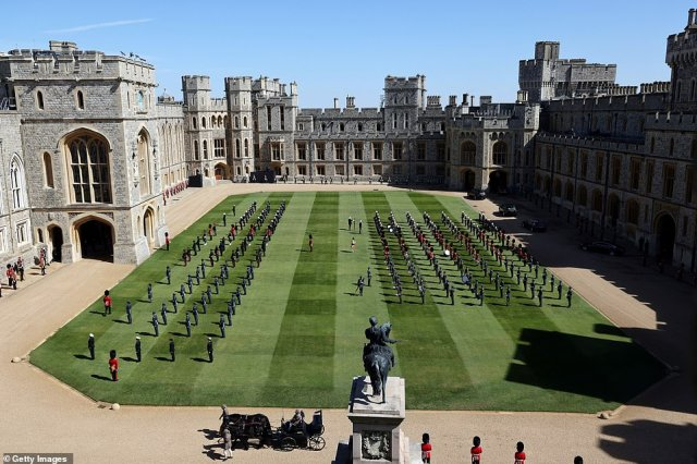 The military gather in the Quadrangle ahead of during the funeral of Prince Philip, Duke of Edinburgh at Windsor Castle