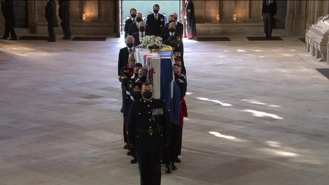 There were tears in church from royals including Prince Charles as the duke's coffin was taken to the altar