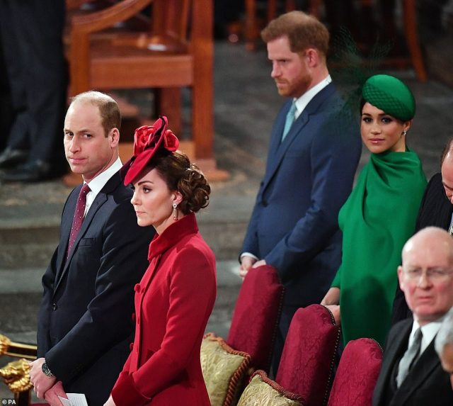 Prince William (left, with his wife Kate Middleton) and Prince Harry (right, with his wife Meghan Markle) were last seen in public together at the Commonwealth Service with other royals at Westminster Abbey in London on March 9, 2020