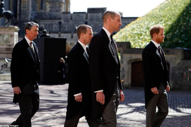 Vice-Admiral Sir Timothy Laurence, Peter Phillips, Prince William and Prince Harry at Windsor Castle this afternoon