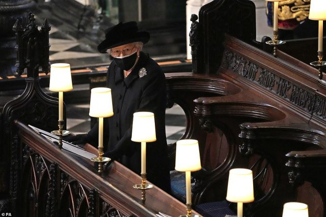 An emotional Queen Elizabeth during the funeral of the Duke of Edinburgh in St George's Chapel in Windsor this afternoon