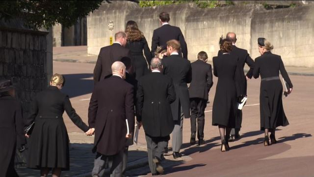 Prince Harry and Prince William seemed locked in conversation as they left St George's Chapel following Prince Philip's funeral service
