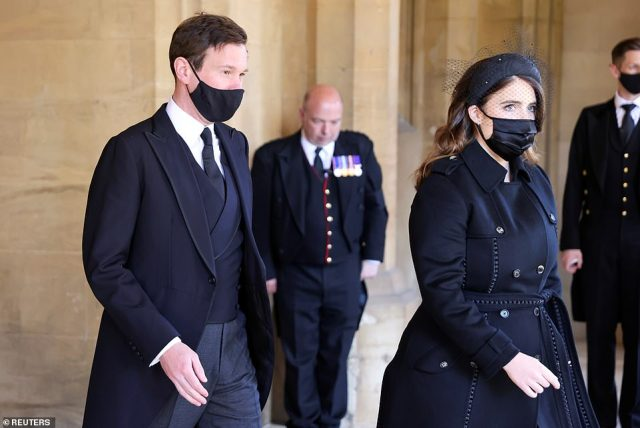 Princess Eugenie and her husband Jack Brooksbank attend the funeral of Prince Philip following his death at the age of 99