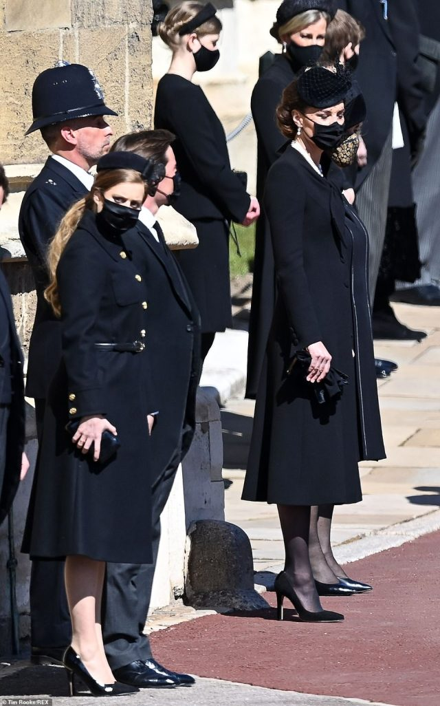 Louise, James and Sophie were joined by Kate Middleton and Princess Beatrice as they stood outside the chapel today