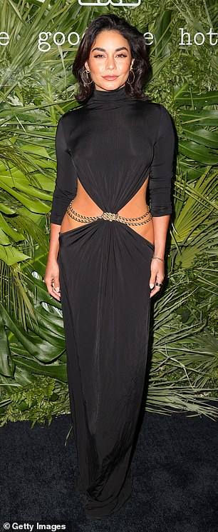 Eye-catching outfit: Vanessa Hudgens, 32, wore a black dress that featured a large part in its middle portion