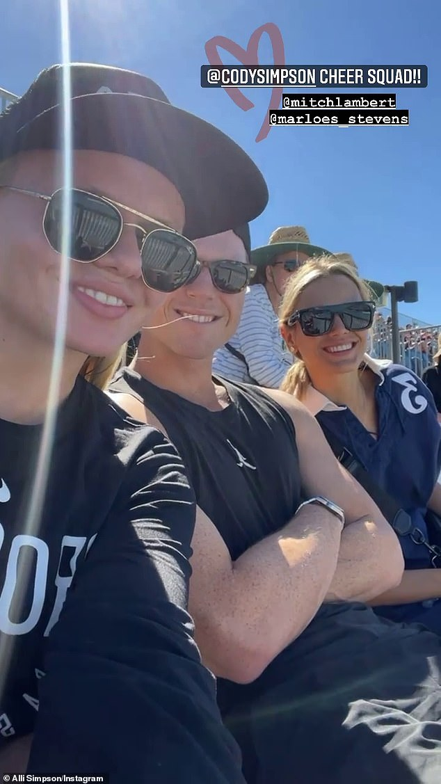 Cheer squad: Cody's girlfriend Marloes, his sister Alli and her boyfriend Mitchell Lambert cheer him on