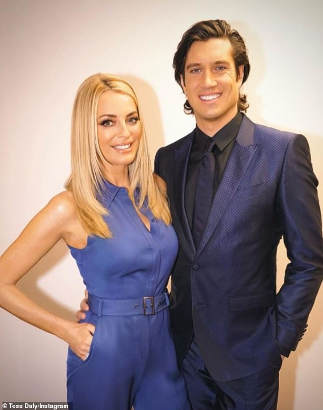Sweet: Vernon Kay, 46, has revealed he finds his wife Tess Daly, 52, 'stunningly beautiful' when she's not wearing makeup