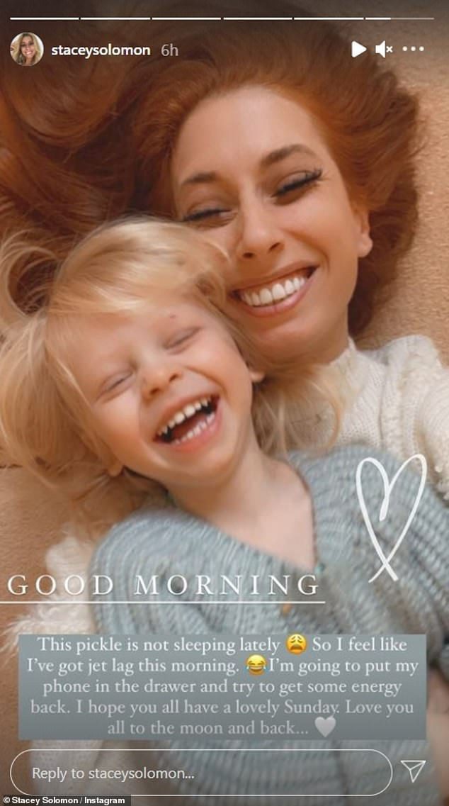 Disconnect: Stacey Solomon revealed she was taking a break from Instagram on Sunday after another sleepless night with her son Rex, 17 months old, made her feel like she had 'jet lag'