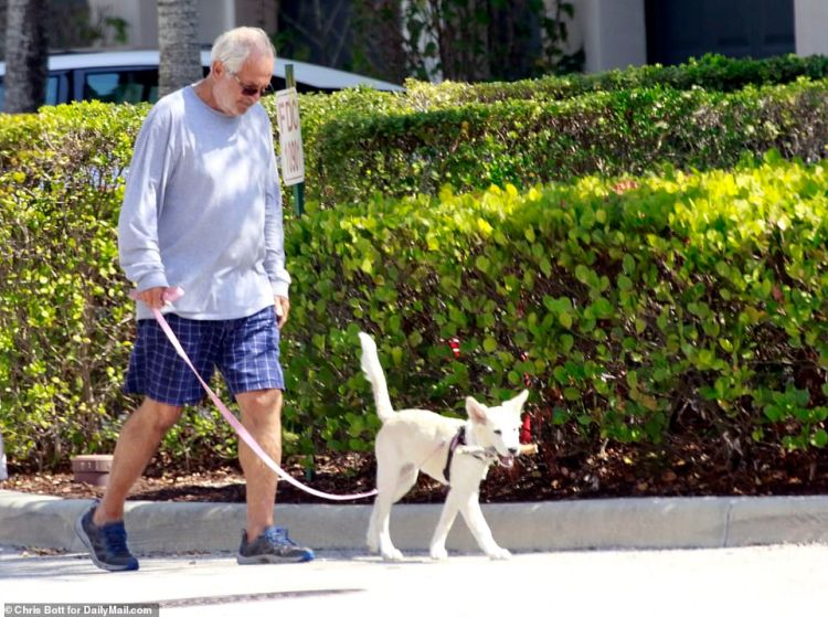 Peter Madoff was seen walking his dog outside the home in West Palm Beach, Florida on Saturday