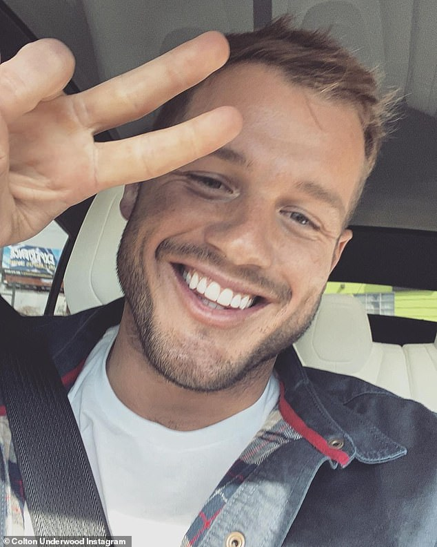 Having fun: Colton Underwood posted a peace sign in a selfie posted to his Instagram on Sunday, shortly after he turned gay and started working on a documentary series.