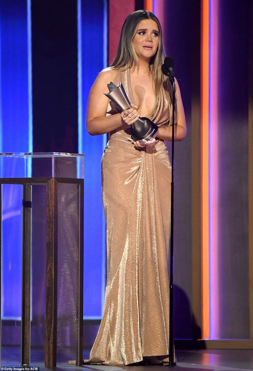 Honored: Maren Morris was one of the early winners at the ceremony for Song of the Year for her track The Bones