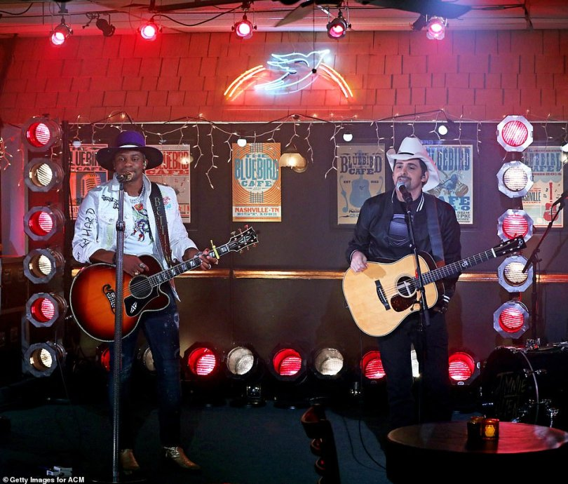 Having a laugh:Brad Paisley played a trick on his duet partner Jimmie Allen when they performed their song Freedom Was A Highway