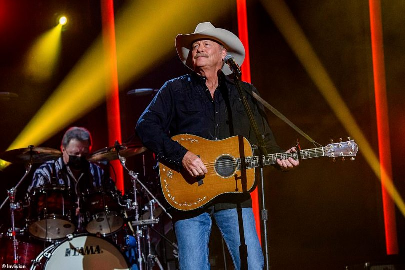 Old school:Country music fixture Alan Jackson turned down the volume afterward to play his classic song Drive (For Daddy Gene)