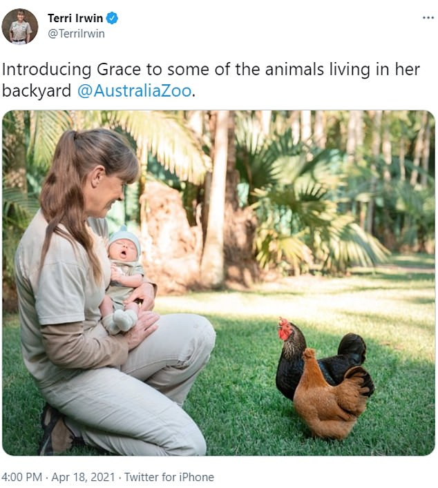 Mother hen: Bindi Irwin's mother Terri (left) introduced three-week-old baby Grace Warrior Irwin to some of the tamer animals at Queensland's Australia Zoo on Sunday