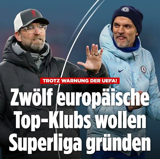 German publication Bild focused on Jurgen Klopp and Thomas Tuchel who are managers at Super League founder clubs Liverpool and Chelsea in the Premier League