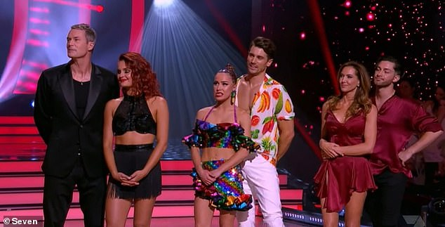 Dance it: When it came down to the wire, the pair scored 38, and faced a dance off with fellow contestants Matty 'J' Johnson and Tom Williams. Matty and Tom were eliminated. All pictured