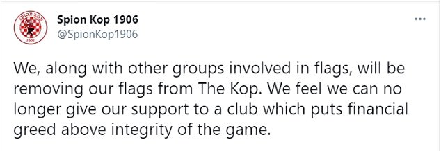Spion Kop 1906 tweeted his intention to remove all his screens in the Anfield stand