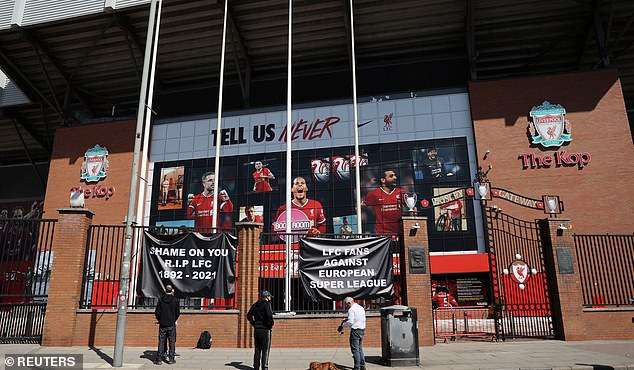 Supporters gathered outside Anfield to make their feelings clear on the proposals