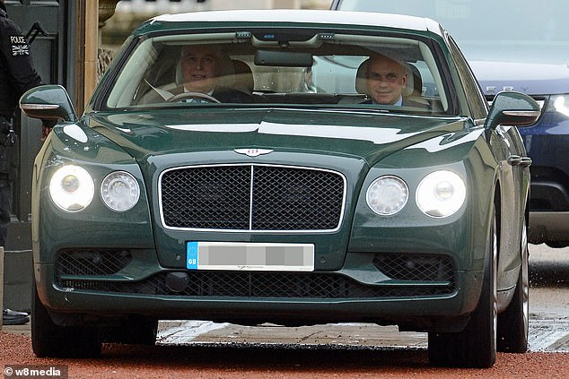 Previous Bentley: The Duke of York driving a Bentley Continental GT - the old Bentley he replaced. Depending on the year it was first purchased, the car can be sold for upwards of £130,000 second hand