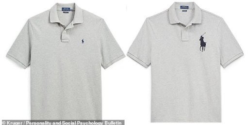 In the study, 376 US students were shown a polo shirt with a Ralph Lauren Polo brand logo printed on the left breast in either a small or a large size, as pictured They were then asked to imagine the man who owned the shirt and rank him on a scale of 1–100 for various factors relating to both the effort he puts into both mating and parental investment