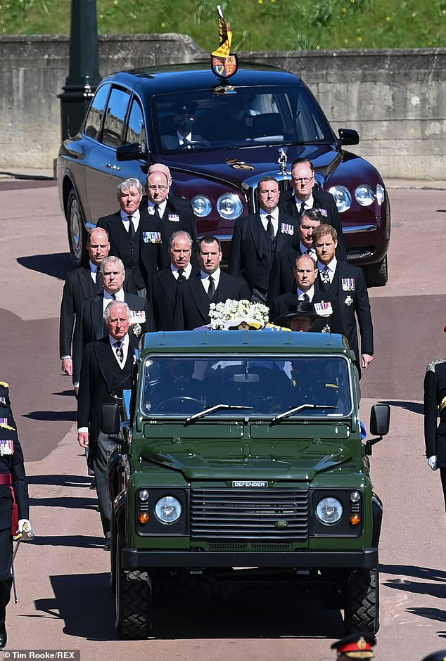 The Queen's  Bentley followed the coffin from the castle to the church, behind the Land Rover and her family