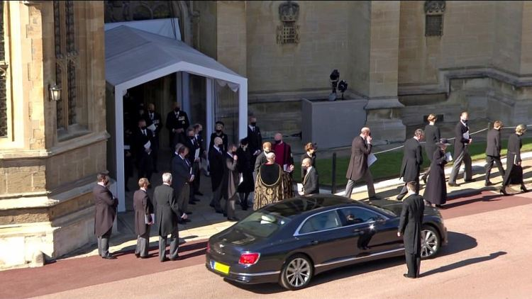 The royals walk back to Windsor Castle after Prince Charles sends his car away after the funeral service